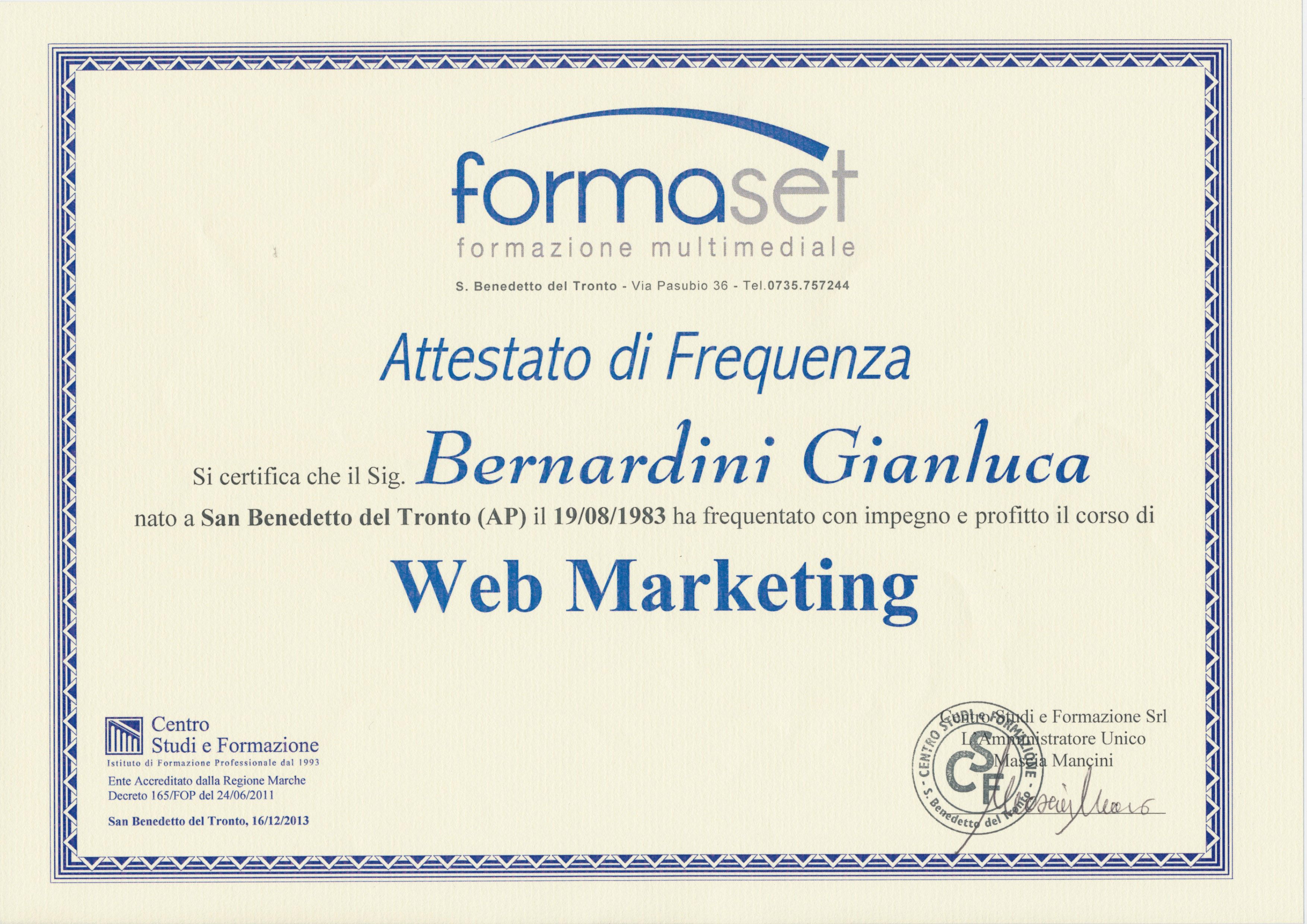Attestato FormaSet 2013