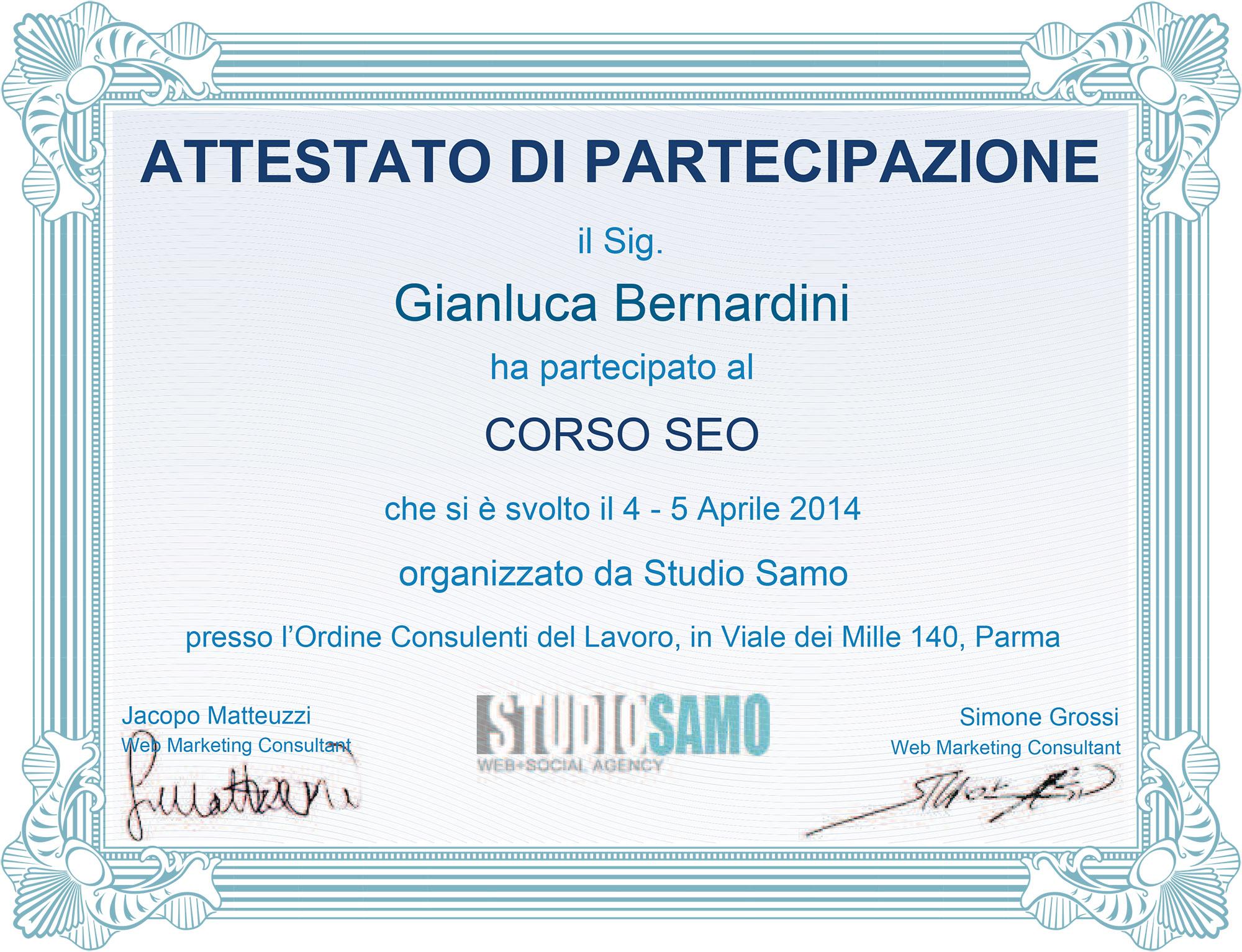 Attestato Studio Samo 2014