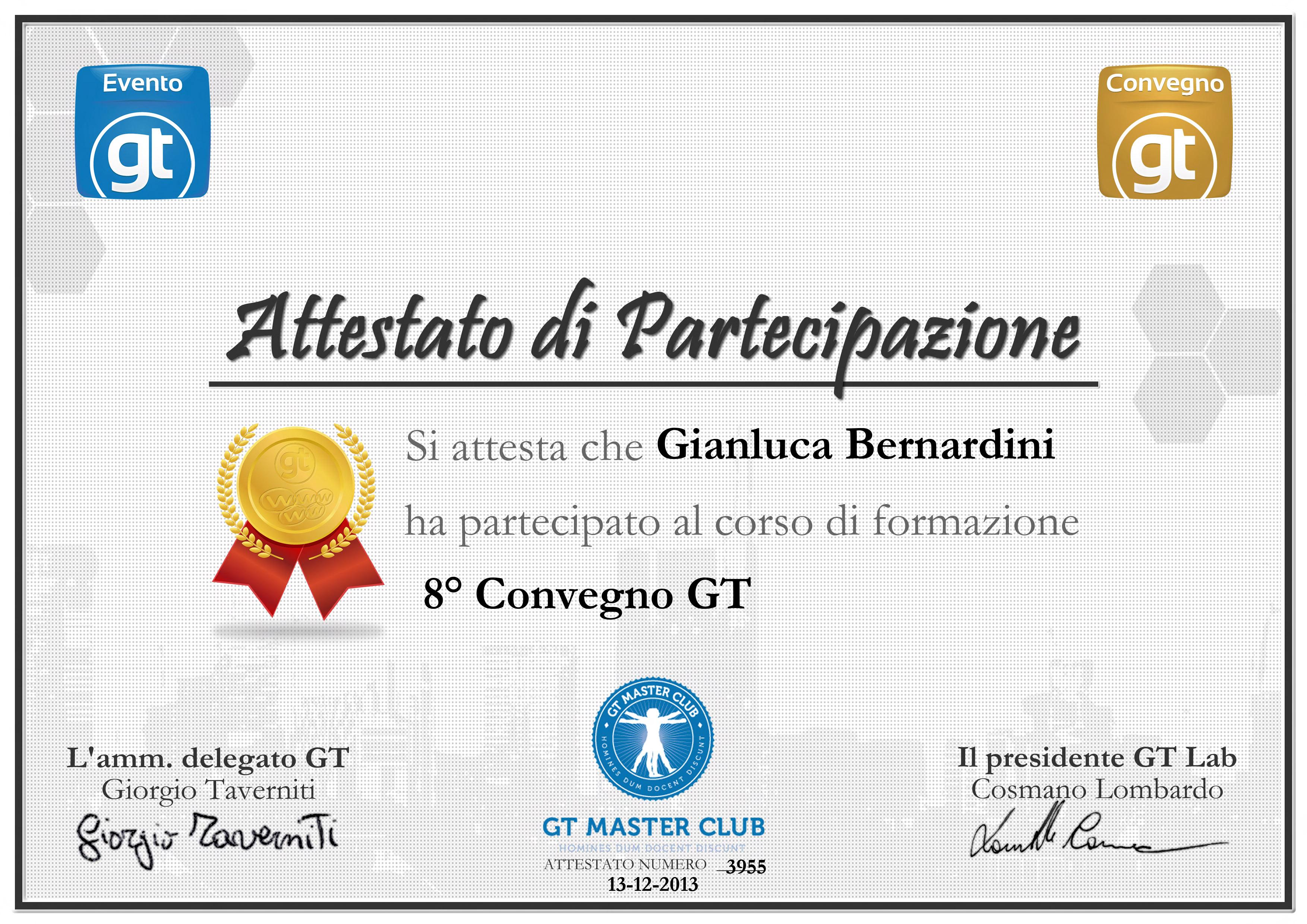 Attestato Convegno Gt 2013